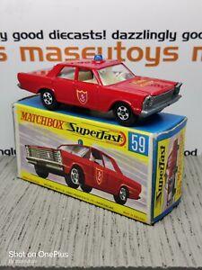 MATCHBOX LESNEY Superfast No.59c Ford Galaxie Fire MIB Original Vintage Diecast