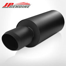 """4.5"""" DOMED TIP 3"""" INLET BLACK ROUND STAINLESS STEEL MUFFLER FIT UNIVERSAL"""