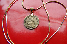 """1924 French Centimes Mint Brass Coin Pendant 18K  24"""" Gold Filled Snake Chain"""
