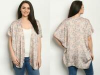 TAN BEIGE ROSE FLORAL KIMONO CARDIGAN PLUS 2X 2XL XXL BOHO NEW