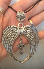 X LARGE SILVER TONE ANGEL WINGS & CROSS PENDANT & NECKLACE and NECKLACES CHOICE