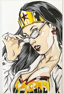 Sexy Wonder Woman Diana Prince! Original Drawing Comic Art by D.H.Miller