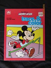 1985 Vintage Original Kids Walt Disney Mickey Mouse Trace & Color GOLDEN