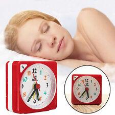 Mini Travel Alarm Clock Analogue Quartz LED Light With Snooze Battery Operated
