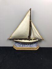 Vintage Nautical Cast Iron Sail Boat Statue / Wall Decor