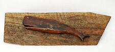 Antique Whale Carving -Petrified Wood & Driftwood- Nautical Folk Art Navy Trench