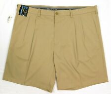 NWT Roundtree York Performance Mens Activewear Pleated Golf Shorts 44 48 50 Tan