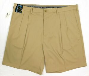 NWT Roundtree York Performance Mens Activewear Pleated Golf Shorts 44 48 50 Tan