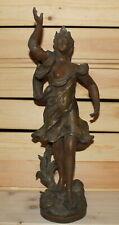 Antique Art Nouveau hand made bronze plated metal nude woman figurine