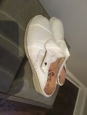 Finn Comfort Aussee White Leather Slip On Mule/clog Size 38