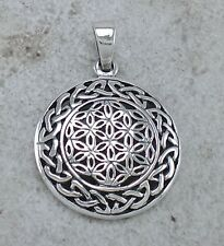 UNIQUE 925 STERLING SILVER CELTIC FLOWER OF LIFE PENDANT  style# p0941