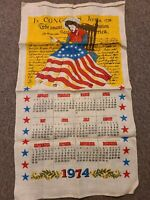 New Vtg 1974 linen tea towel wall hanger calendar Betsy Ross sewing on the flag