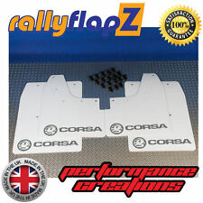 rallyflapz passend für Opel Corsa C (00-07) Schmutzfänger weiß Logo silber 4mm