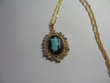 """HANDMADE CAMEO BUTTERFLY RHINESTONE NECKLACE 20""""  BLUE ON BLACK  GOLD PLATED"""