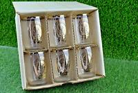 6 VINTAGE COORS BEER BARREL GOLD RIM SHOT GLASS DRINKING GLASSES IN BOX