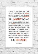 Eminem - Berzerk - Song Lyric Art Poster - A4 Size