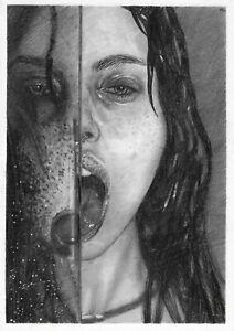 original drawing A4 336GK art samovar Graphite female portrait unusual Signed