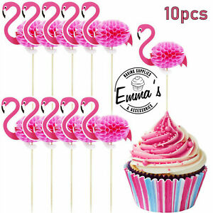10PCS 3D Flamingo Kids Birthday Cupcake Toppers Picks Cup Cakes