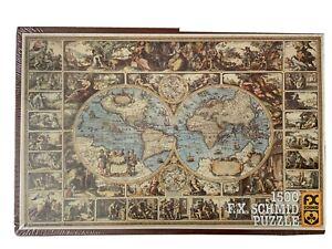 Vintage FX SCHMID Jigsaw Puzzle Antique World Map 1500 Pcs W GERMANY Sealed NR!