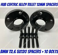 Black Alloy Wheel Spacers 12mm Bmw 1 2 3 5 6 7 8 Series M12x1.5 Bolts 5x120 72-6