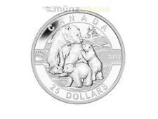 25$ DOLLARO Orso polare o CANADA 2013 pp proof 1 oncia oz Argento Silver