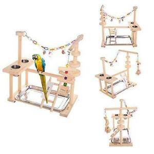 QBLEEV Parrot Playstand Bird Play Stand Cockatiel Playground Wood Perch Gym