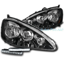 FOR 05-06 ACURA RSX DC5 BLACK REPLACEMENT HEADLIGHTS LAMPS W/DRL KIT LEFT+RIGHT