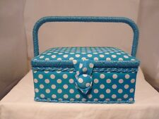 SMALL CRAFT PADDED LIGHT BLUE POLKA DOTS SEWING BOX NEW WITH COMPARTMENT BOX