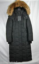 MACKAGE JADA LONG COAT BLACK F5 PUFFER JACKET FUR HOOD S SMALL NEW AUTHENTIC
