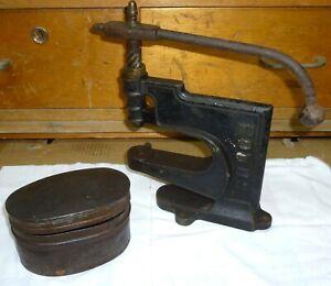 alte Nietpresse Ösenpresse Spindelpresse Handpresse Nietwerkzeug Schuhmacher