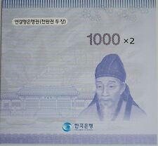 South Korea 2007 Uncut Sheet 2 NOTE 1,000won Currency Money New Design