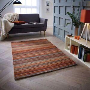 Fine Stripe Rugs In Rust Hand Loomed Striped Orange Wool Rug 160x230cm