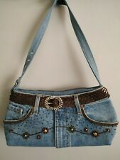 Hand & heart repurposed blue jeans bag purse