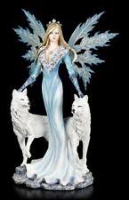 Große Elfen Figur 58 cm - Kimama mit zwei weißen Wölfen - Fantasy Fee Statue