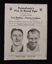 >orig. 1933 Vintage Boxing Program JACK SHARKEY vs TOMMY LOUGHRAN @ Shibe Park
