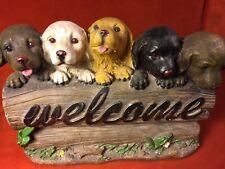 Vintage Labrador Retriever Puppies Welcome Sign Figurine Collectible Chalkware