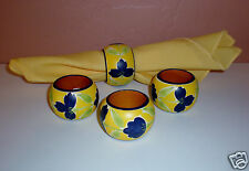 """New listing Set of (4) Hand-Decorate Wood Napkin Rings """"Floral Design"""" Just Lovely!"""