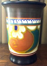 """Zenith Matte Black & Brown & Orange, Gouda 4 1/4"""" Tall Vase/Water Glass Holland"""