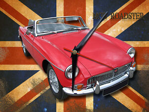 CLASSIC BRITISH MGB ROADSTER METAL CLOCK