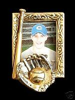 Baseball Softball Playball Sport Photo Pin Brooch 24 Karat Gold Plate