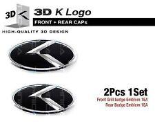 3D K Emblem Front Grille + Rear Trunk Black & Chrome For KIA 2011-2015 Optima