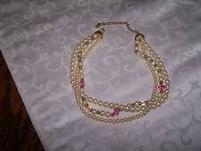 Multi Strand Faux Pearl and Bead  Choker Necklace 14 in w/ 3 in extender