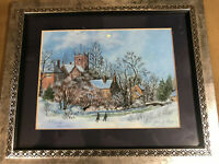 "John J Loeper ""Cottswolds Christmas"" Watercolor Painting - Signed And Framed"