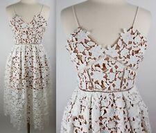 Neu Selbst Porträt Azaelea US 2 UK 6 Weiß Hautfarben Spitze Midi Kleid