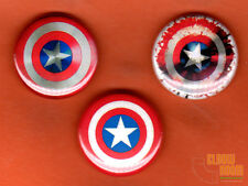 "Set of three 1"" Captain America shield pins buttons Marvel Cap Civil War"