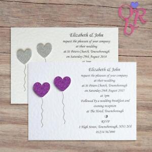 10 Wedding Invitations / Evening Invites Personalised & Handmade with Envelopes