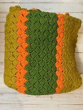 """Vintage Handmade Striped Afghan Throw Blanket Afgan Multi-colored 66"""" X 54"""""""