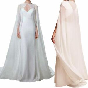 Long Cathedral Wedding Bridal Cape White Ivory Wraps Jackets Chiffon on Stock