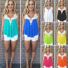 Women Chiffon Lace Vest Tank Tops Summer Sleeveless Casual Loose Blouse T-Shirt