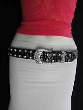 """Women Faux Leather Western Black Belt Flower Silver Beads Buckle 28""""-33"""" Small"""